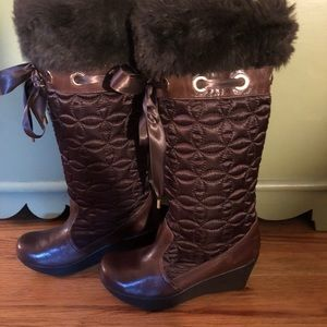 Report Glacier Brown Tall Wedge Boots Size 7 1/2